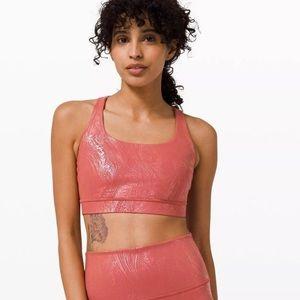 Lululemon Energy Bra Shine Cranberry Pink Foil